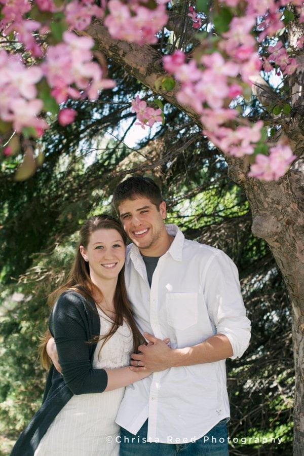 cherry blossom wedding anniversary portraits by Belle Plaine Wedding Photographer