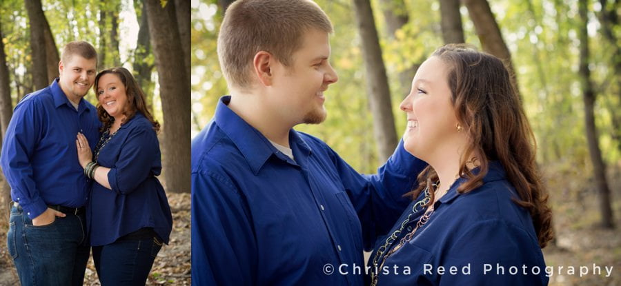 fall engagement portraits in belle plaine Minnesota with blue shirts
