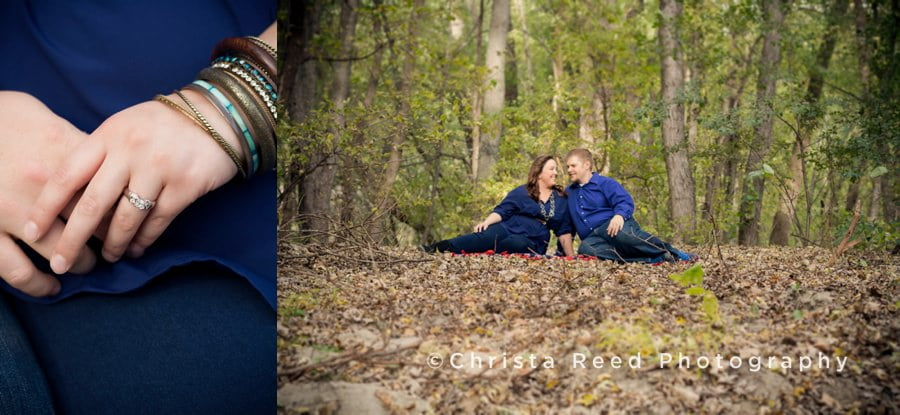 a couple sits on a blanket in the woods for their belle plaine engagement shoot
