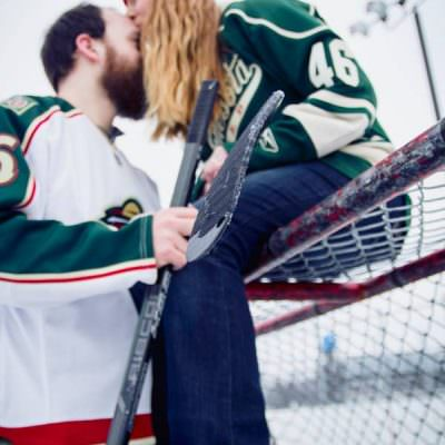 St. Paul Hockey Engagement Shoot with Laura and Robert
