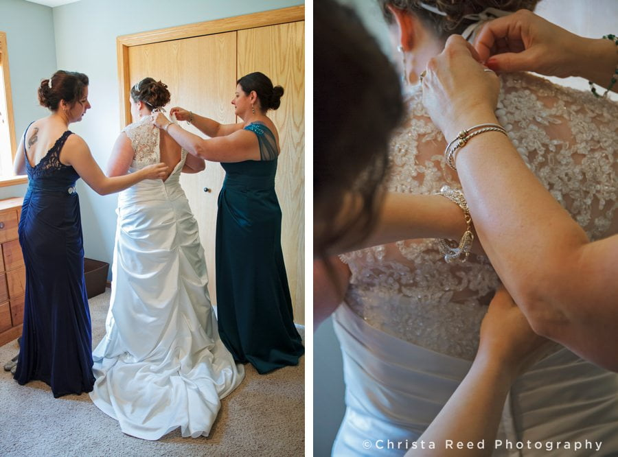 Bride gets ready for her wedding at home in Belle Plaine, MN