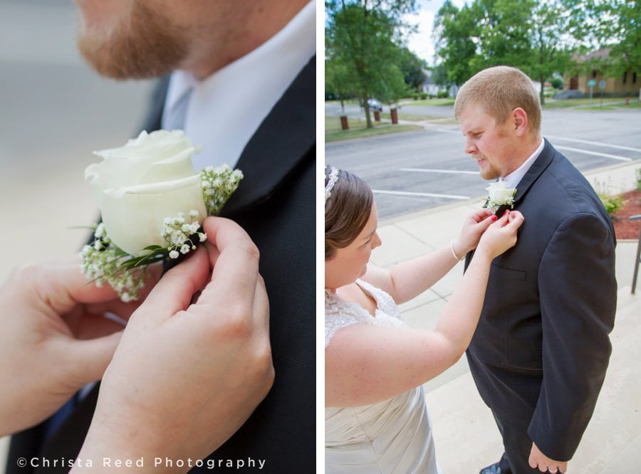 white rose boutonnière for a fourth of July wedding