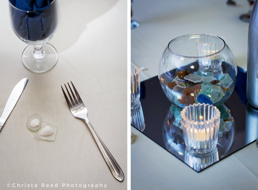 sea glass and shells decorate wedding reception tables