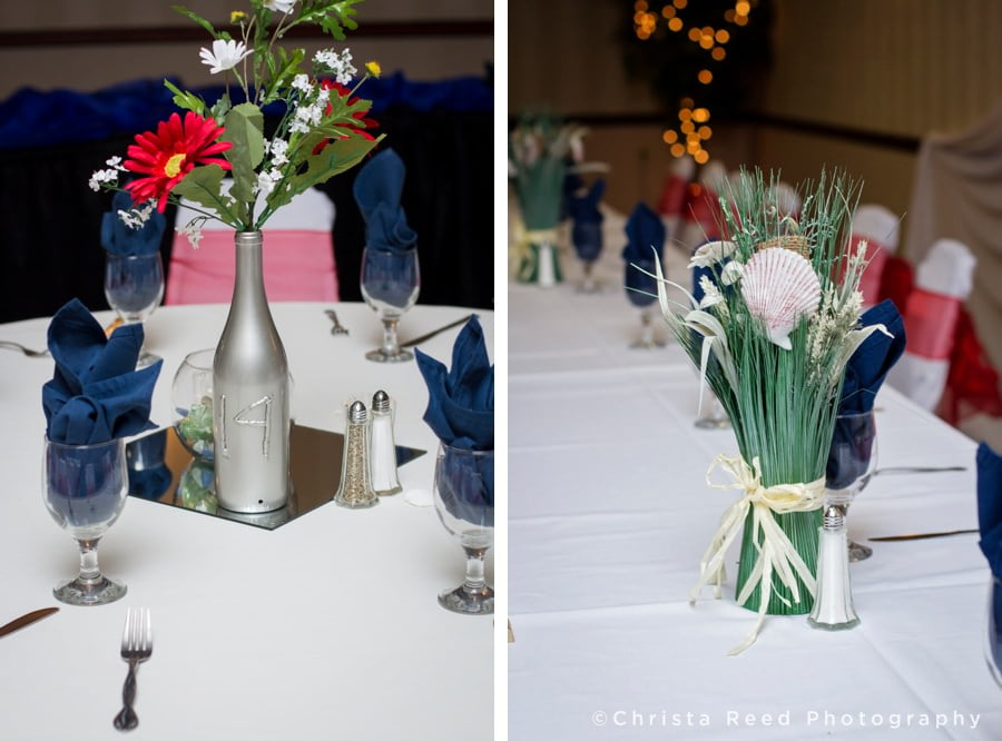 red white and blue wedding reception table decorations