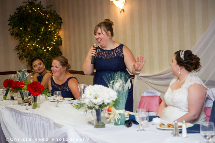maid of honor tells a story about the couple at their wedding