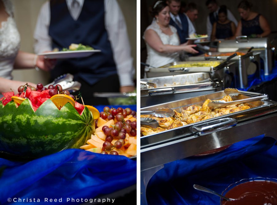 fresh fruit is served at the wedding reception