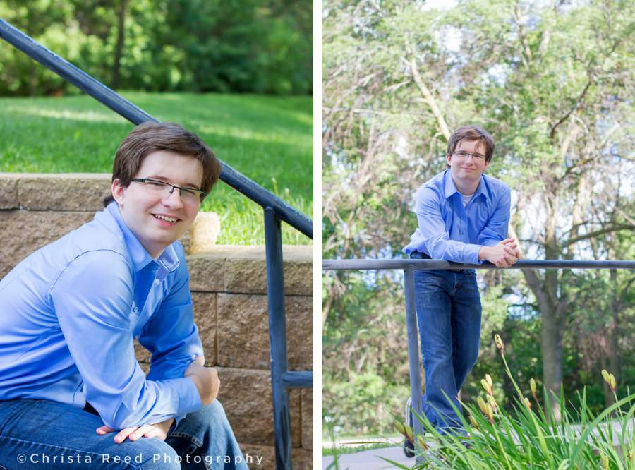 a senior wears a blue dress shirt and jeans for Jordan Minnesota outdoor senior photography