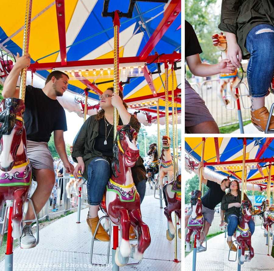 couple rides the merry go round together for their Minnesota state fair engagement shoot