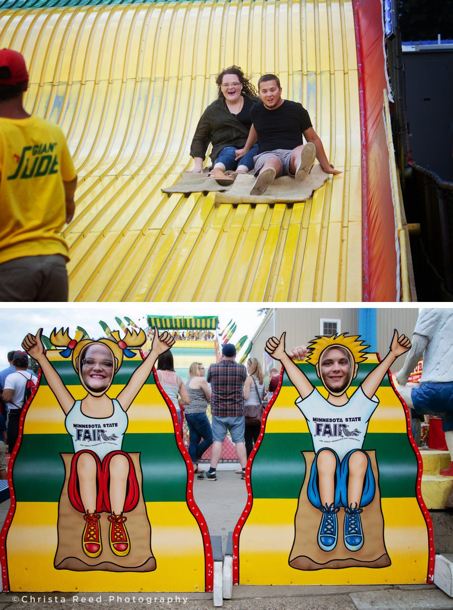 a couple goes down the giant slide for their Minnesota state fair engagement shoot