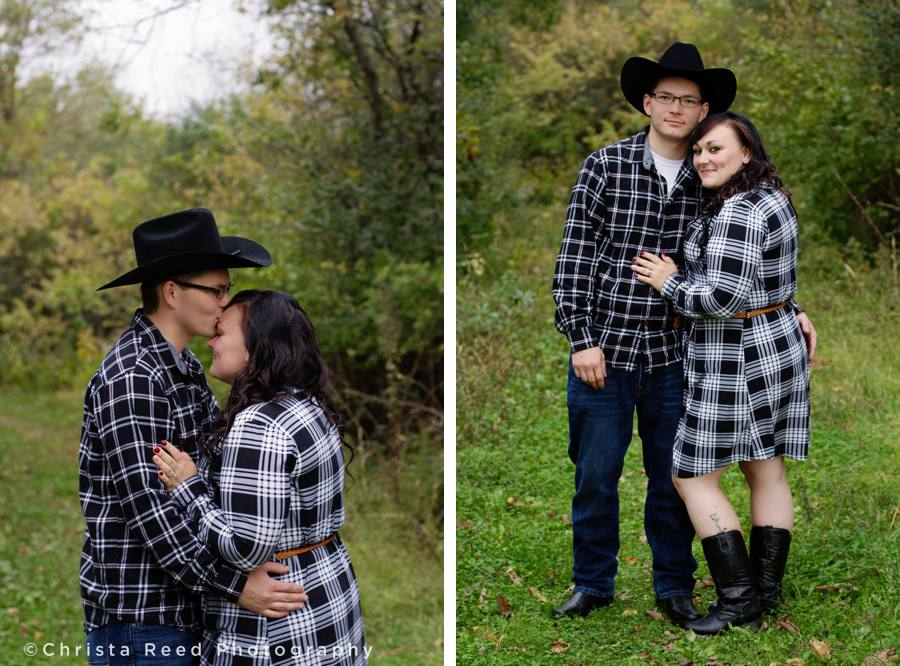 outdoor engagement portraits with flannel and cowboy hats in chaska