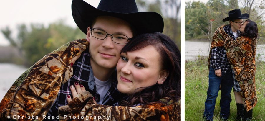 cowboy hats and camo in engagement shoot