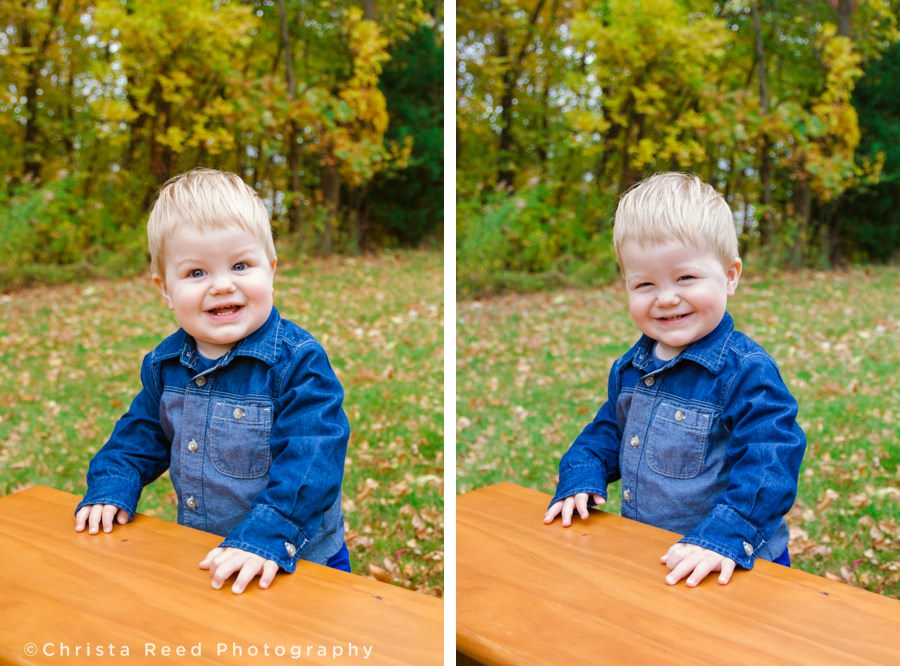 toddler in denim jean jacket for fall portraits