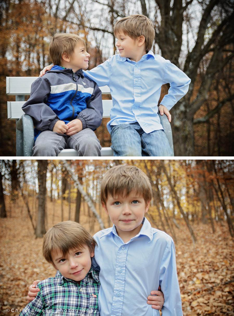 boys posing for fall portraits in the woods at lake ann park chanhassen