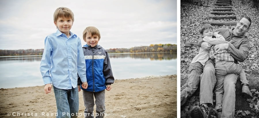 boys play with their dad during fall portraits in chanhassen