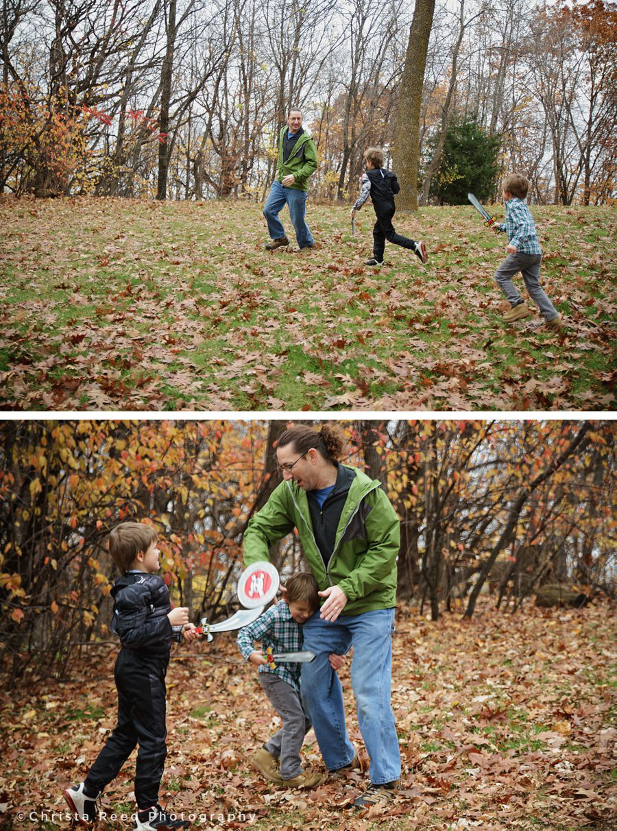 portraits in the fall leaves with halloween costumes at lake ann