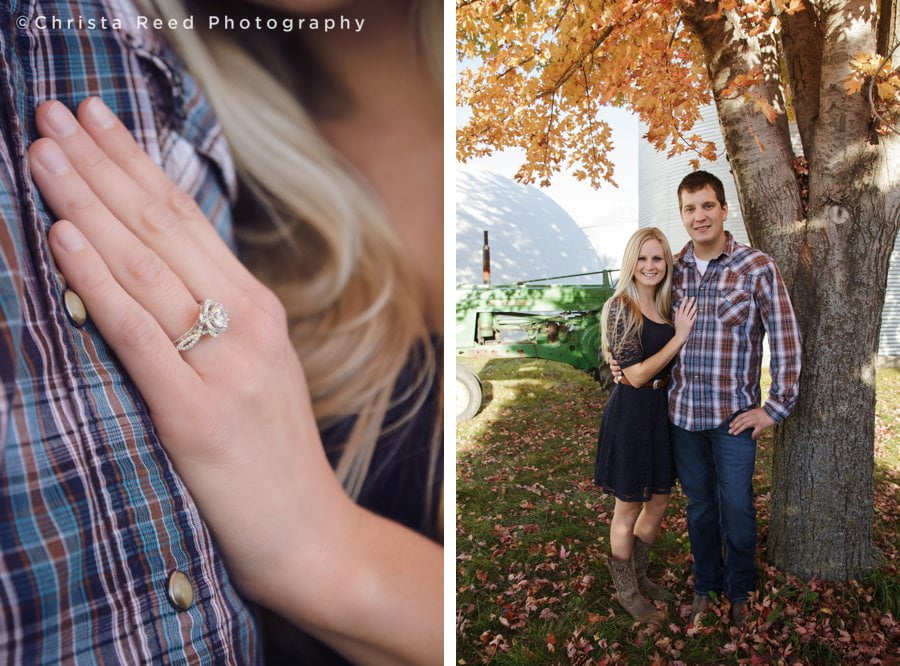 man and woman stand together for engagement portraits at belle plaine farm