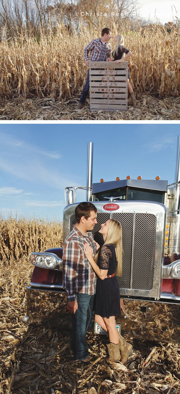 engagement portrait with a Save The Date message on a farm pallet
