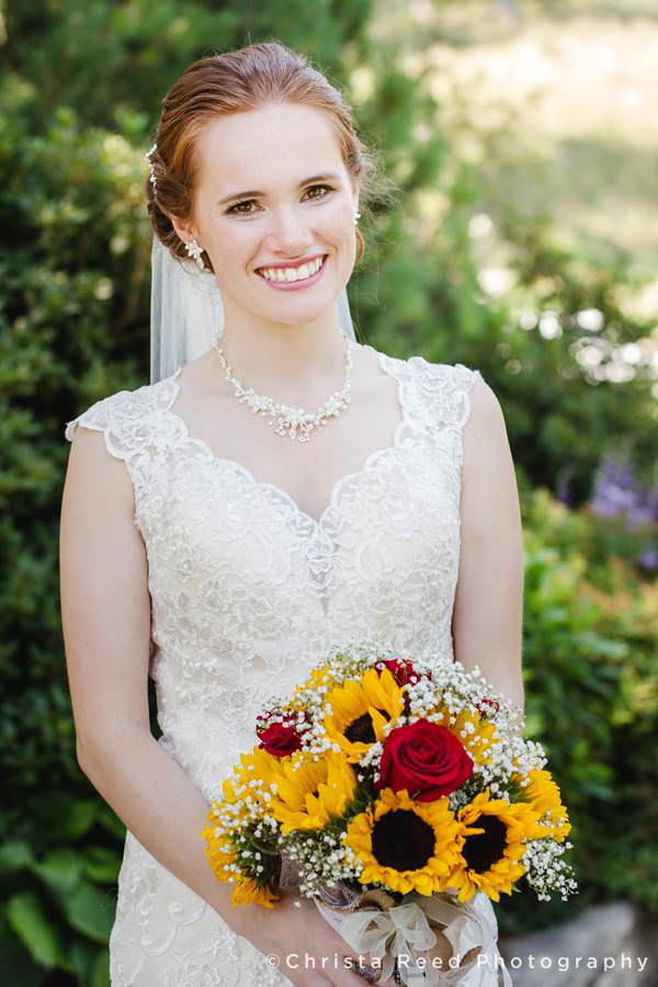 mankato wedding bridal portrait with lace dress and sunflowers