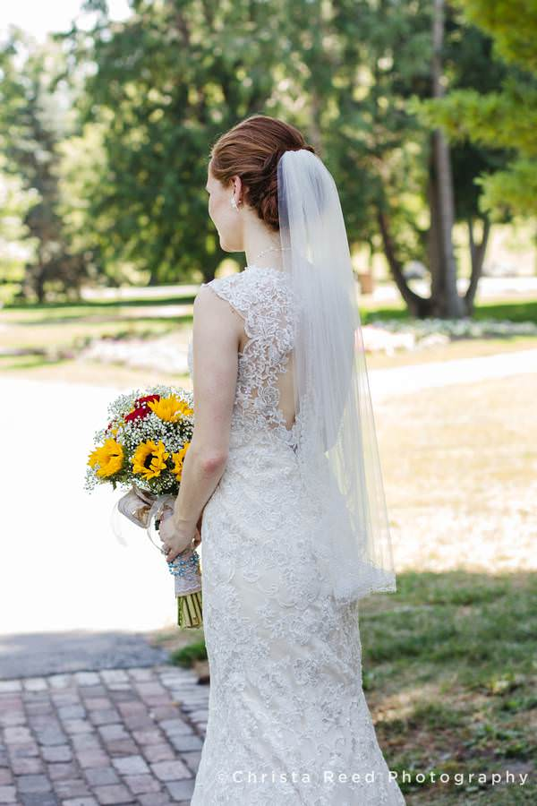 beautiful lace detail on the back of a bride dress in mankato
