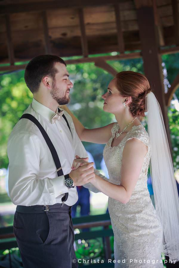 bride and groom dance under gazebo at mankato wedding