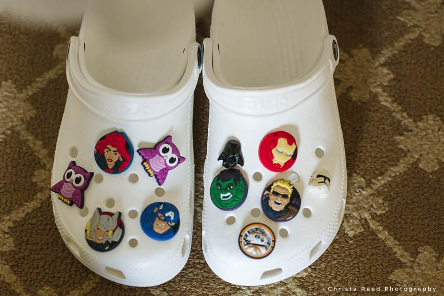 brides crocks with superhero charms