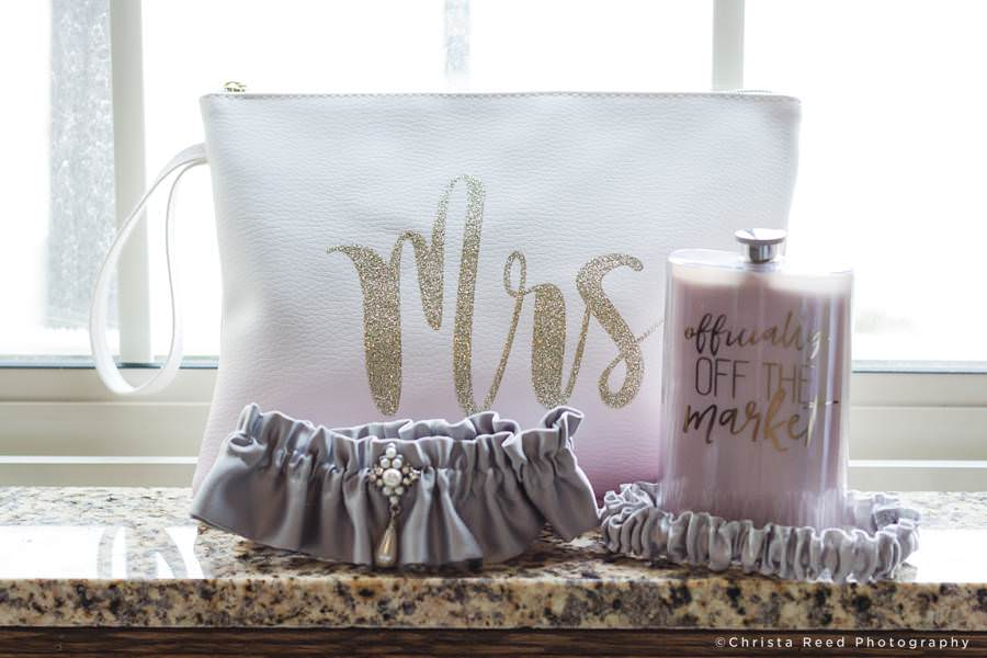 bride's mrs hand bag and flask