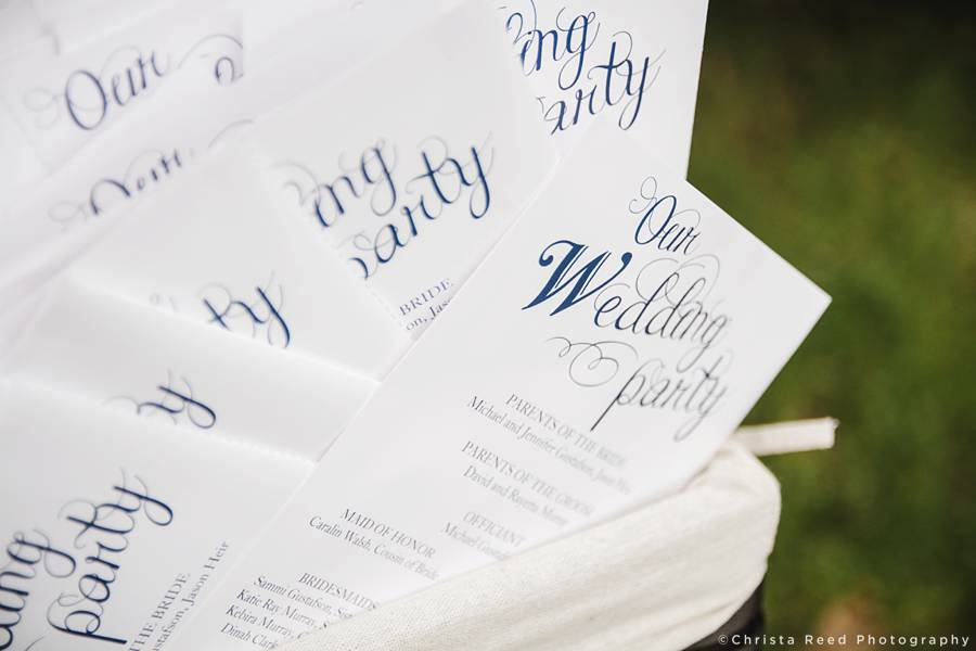 wedding party program with caligraphy