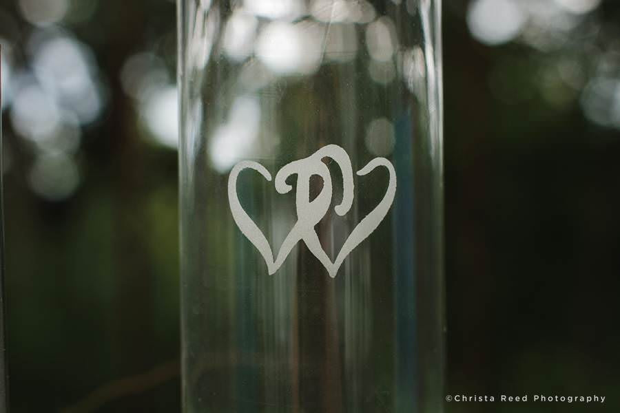 hearts on sand ceremony vase