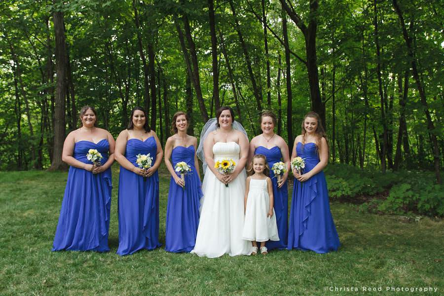 bridesmaids in blue dresses from david's bridal