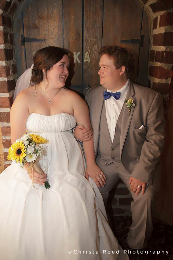 wedding couple at chanhassen dinner theatres wine cellar