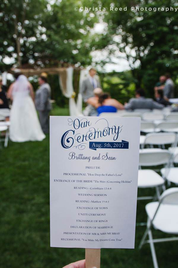 wedding ceremony program for outdoor chanhassen wedding