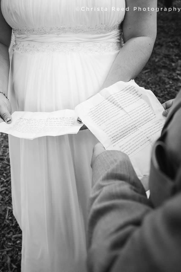 close up of wedding vows