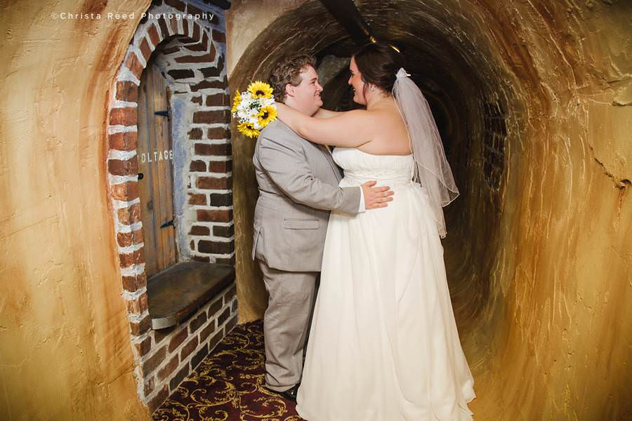 couple in wine cellar at chanhassen wedding