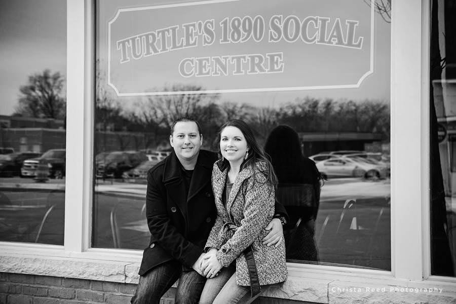 engaged couple in front of Turtles in Shakopee Minnesota
