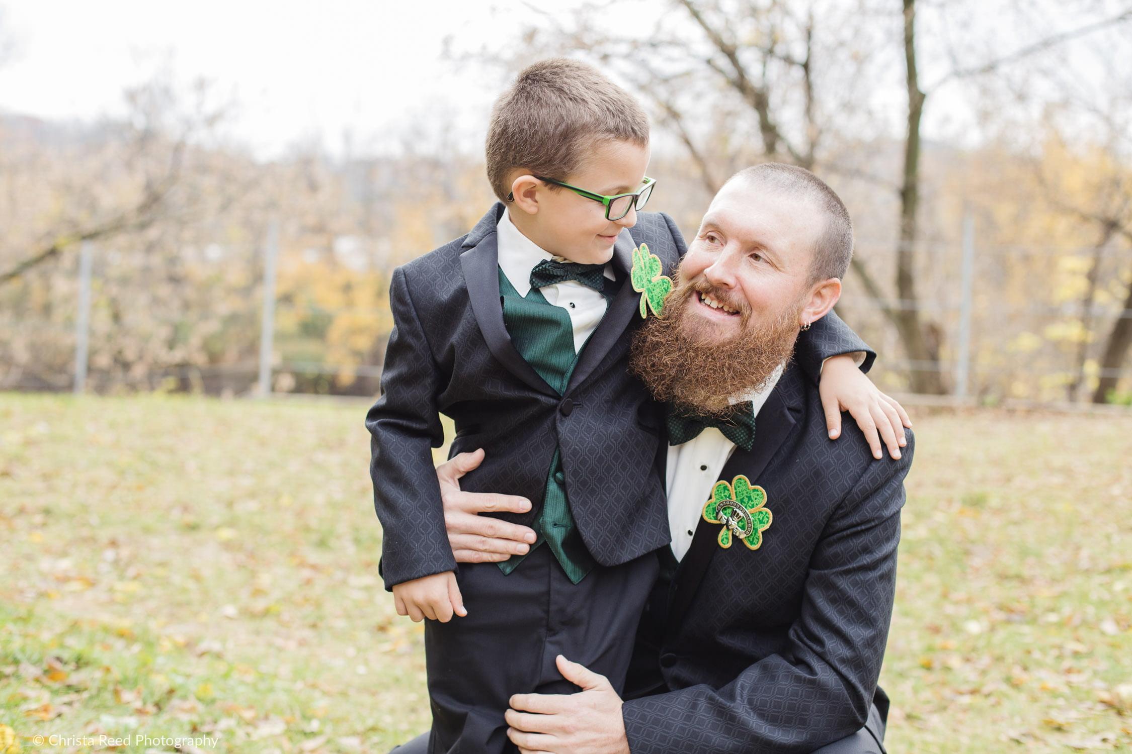 Father and son picture McGowan Farm Irish Wedding | Mankato Wedding Photographer
