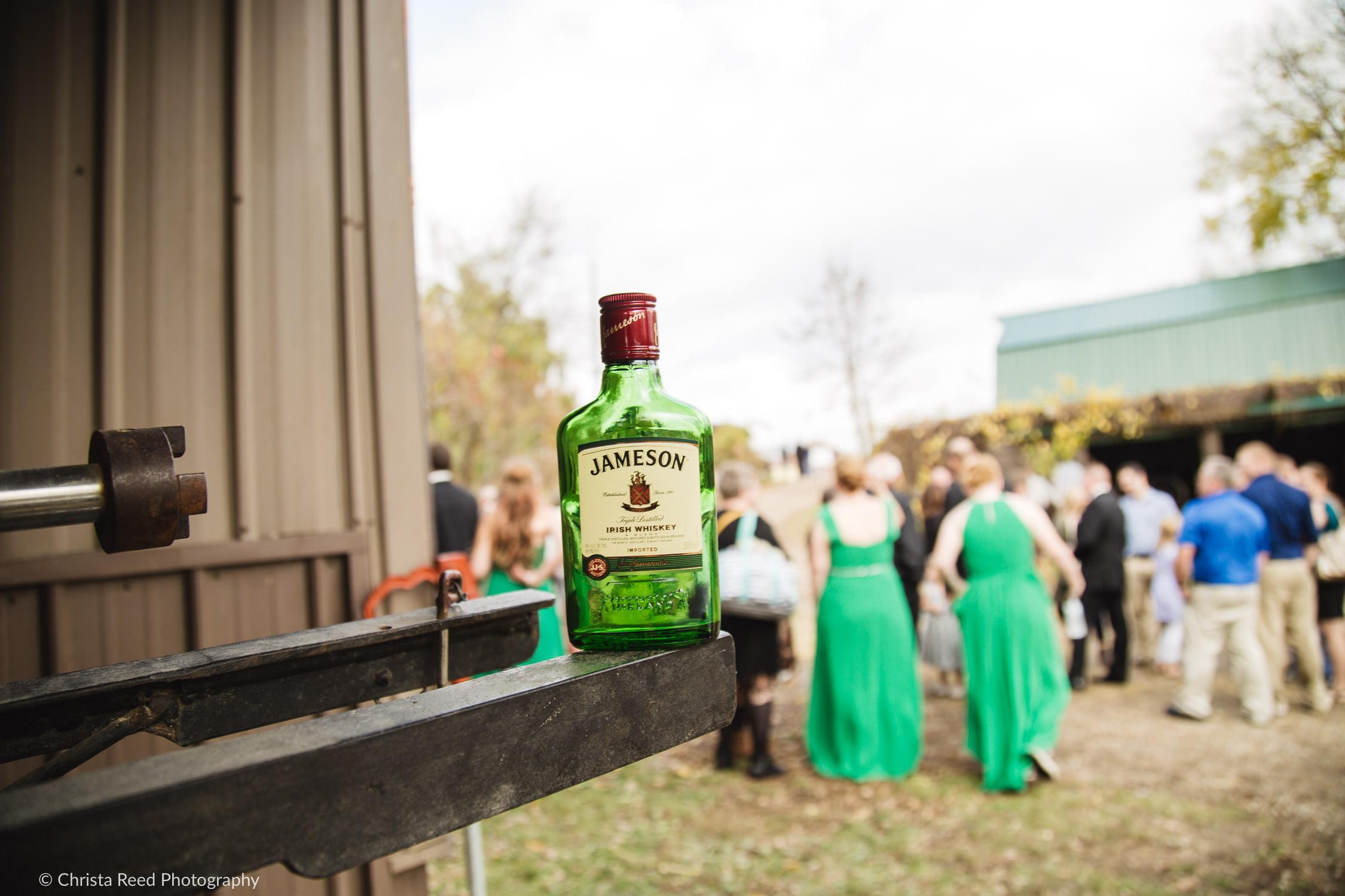 a bottle of Jameson for an Irish wedding in mankato