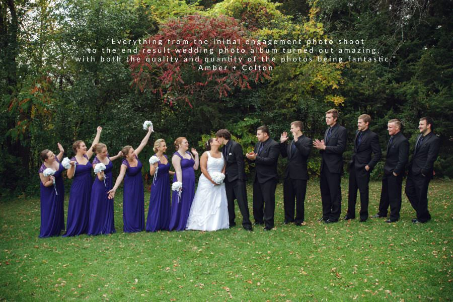 picture of a large wedding party in blue and black for a fall wedding by chaska wedding photographer