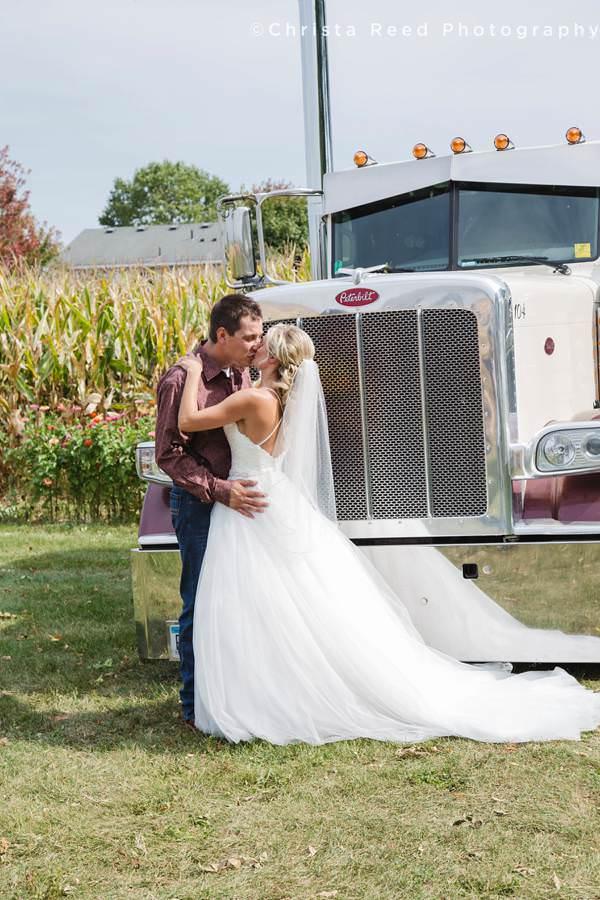 first look with a semi truck Minnesota wedding