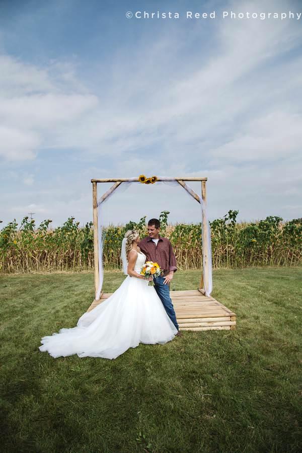 cornfireld wedding ceremony in minnesota