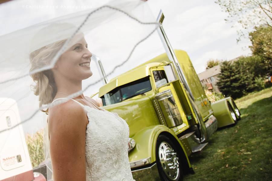 semi truck driver wedding photography