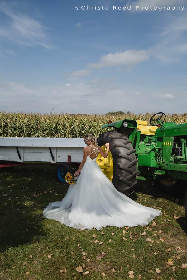 tractor bridal wedding photography