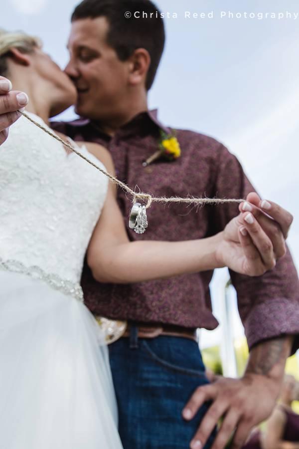 wedding ring on twine for farm wedding