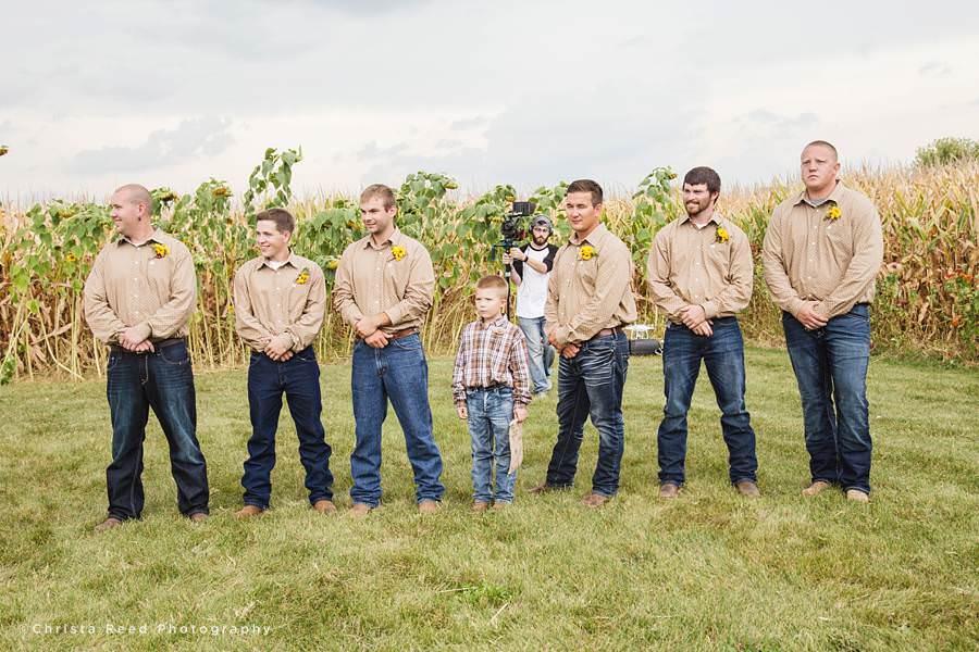 groomsemen belle plaine farm wedding