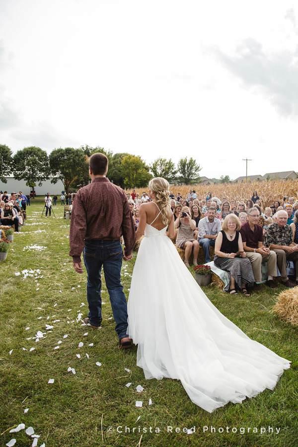 long train for a farm wedding
