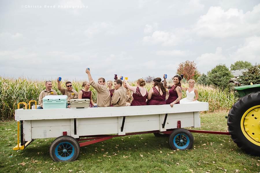 tractor ride for a farm wedding