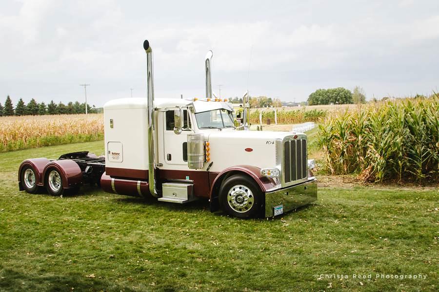 semi truck at a wedding