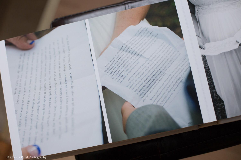 wedding vows in a wedding album by minnesota wedding photographer