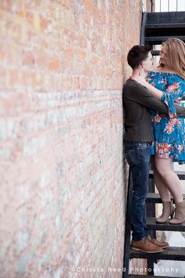 romantic portrait on a fire escape by Belle Plaine Minnesota Couples Photographer