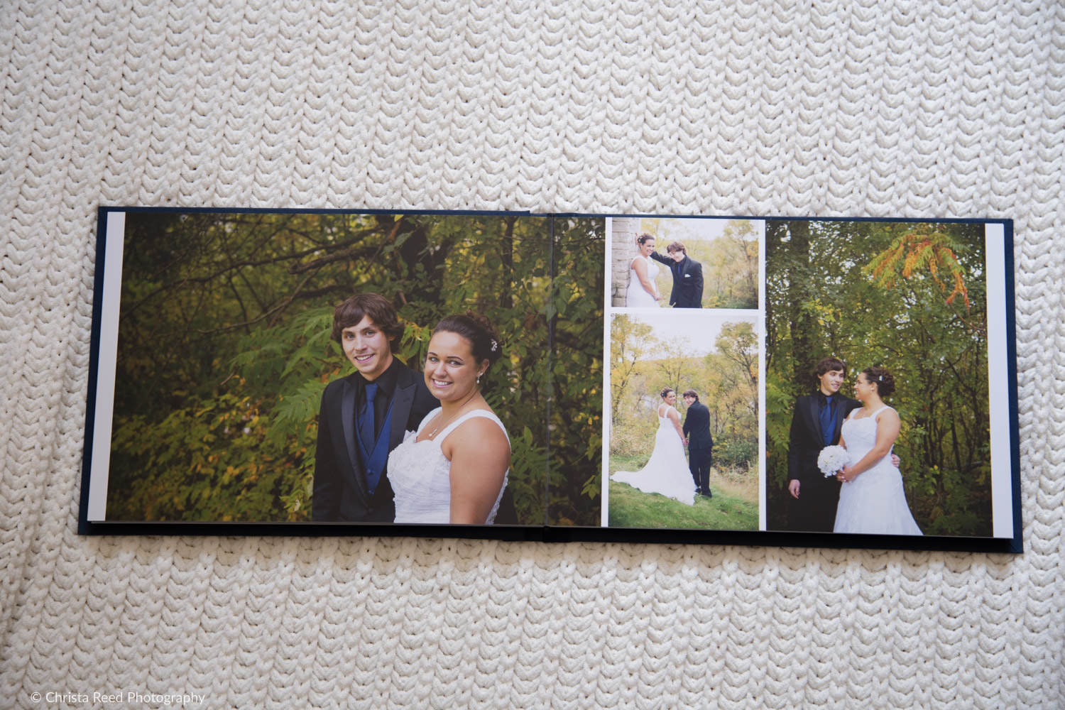 pages from a couple's wedding album by chaska MN wedding photographer